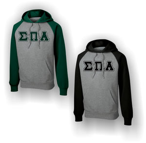 Sigma Pi Alpha - Raglan Colorblock Pullover Hooded Sweatshirt with Letters
