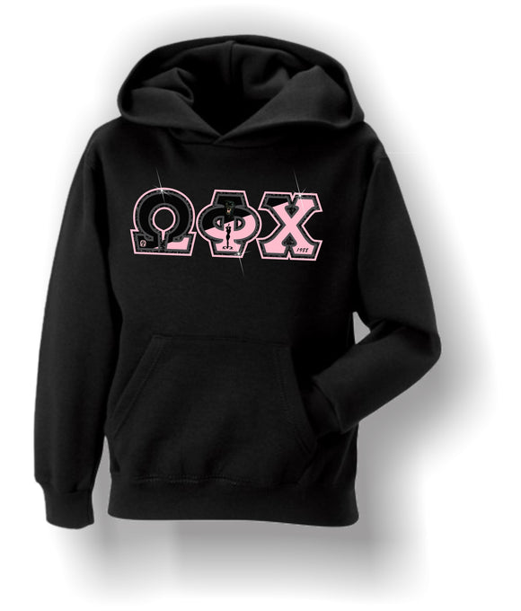 Omega Phi  Chi - Hoodie with Flag Letters