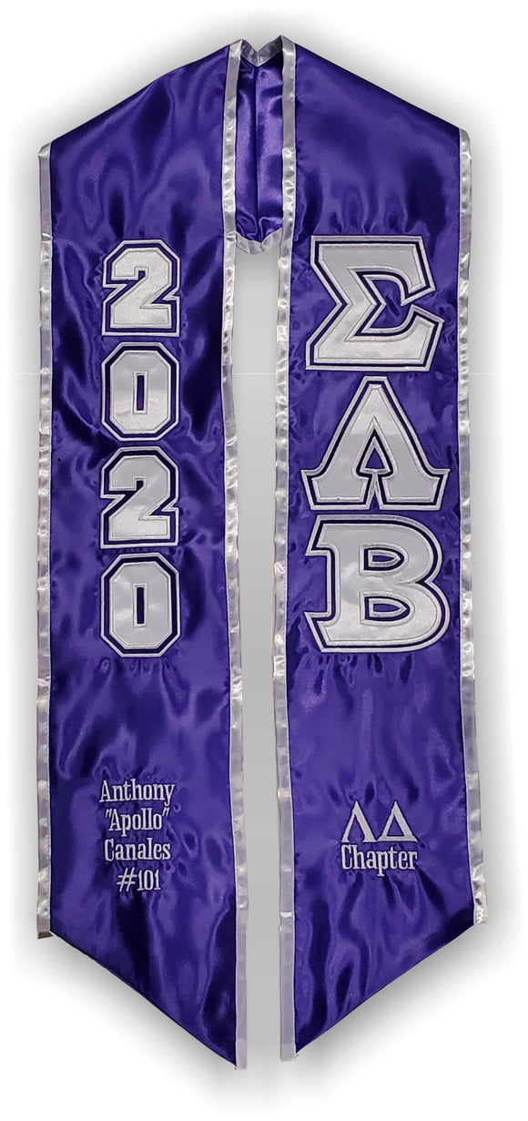 Sigma Lambda Beta-Graduation Stole with Letters and Shield-SLB-STL