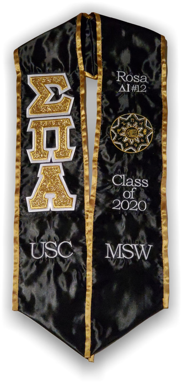 Sigma Pi Alpha - Graduation Stole with Letters and Shield - SPA-STL-BLK-GLD