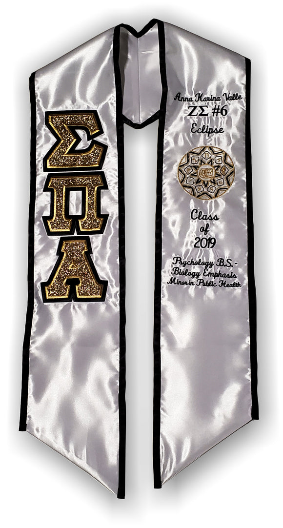 Sigma Pi Alpha - Graduation Stole with Letters and Shield - SPA-STL-WHT-BLK/GLD