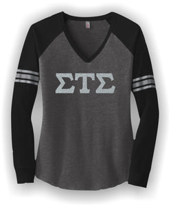 Sigma Tau Sigma-District ® Women's Game Long Sleeve V-Neck Tee-STS-DM477
