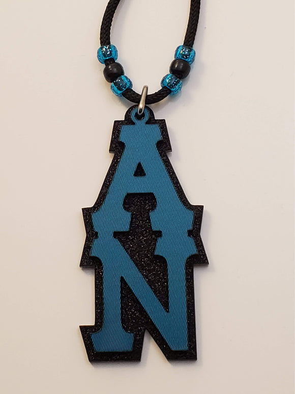 Alpha Nu - TIKI - Turquoise Twill on Black Glitter or Silver Glitter