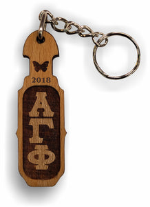 Alpha Gamma Phi - Paddle Keychain, Laser Engraved; Maple & Walnut-01-KEY-PDL