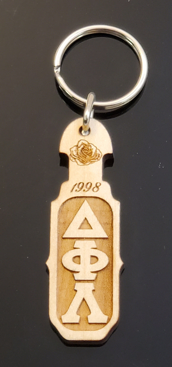 Delta Phi Lambda - Paddle Keychain, Laser Engraved; Maple & Walnut-DFL-01-KEY-PDL