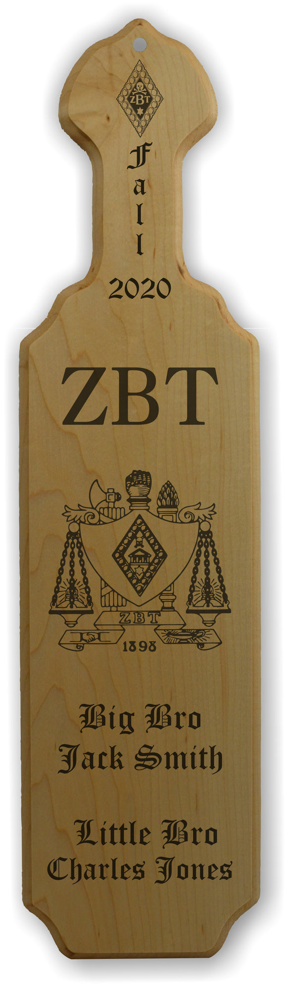 Zeta Beta Tau-Paddle, Custom, Laser Engraved, 21 Inch-ZBT-01-PDL-21