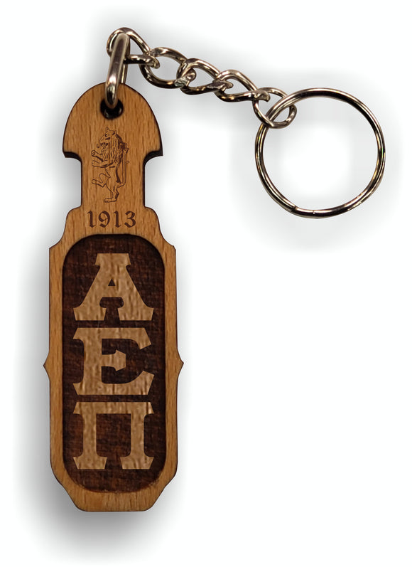 Alpha Epsilon Pi - Paddle Keychain, Laser Engraved; Maple & Walnut-01-KEY-PDL