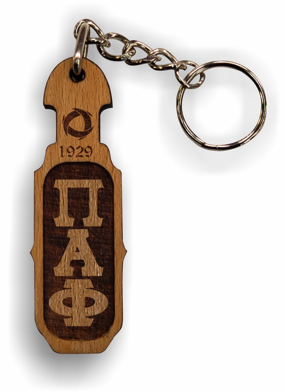Pi Alpha Phi - Paddle Keychain, Laser Engraved; Maple & Walnut-01-KEY-PDL