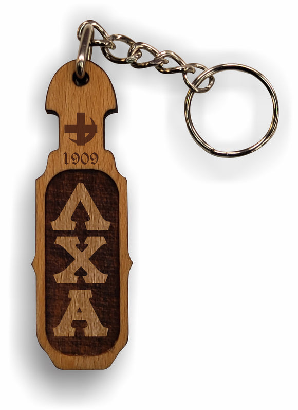 Lambda Chi Alpha - Paddle Keychain, Laser Engraved; Maple & Walnut-01-KEY-PDL