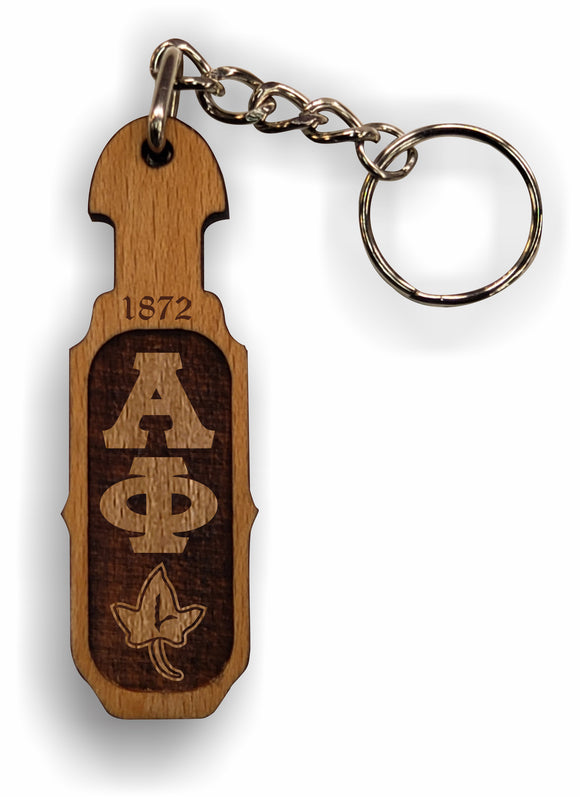 Alpha Phi - Paddle Keychain, Laser Engraved; Maple & Walnut-01-KEY-PDL