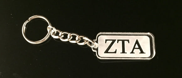 Zeta Tau Alpha - Rectangular Clear Acrylic Keychain with Letters