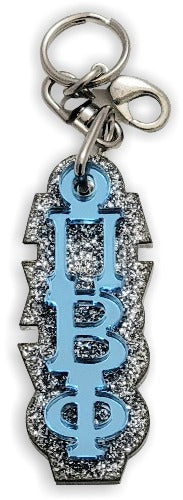 Pi Beta Phi-PURSE Zipper Pull Keychain-Blue Mirror Letters on Silver Glitter Backing-PBF-03-KEY-ZIPPULL-BLUMIR-SLVRGLTR