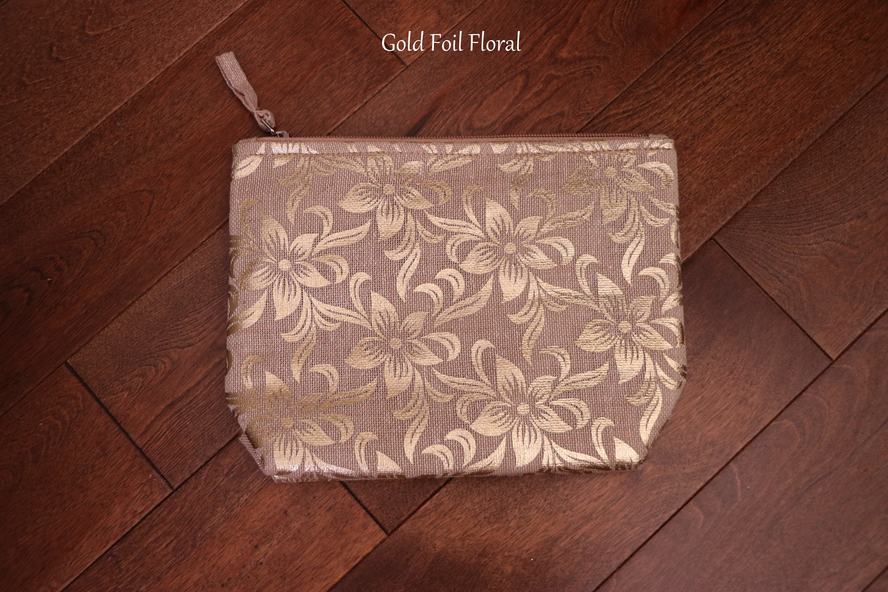 Gold Foil Cosmetic Bags! Upcycled Metal Foil Print! Makeup Bags! Metallic Print Makeup Bags! Cosmetic Pouches for Women! Vanity Bags!