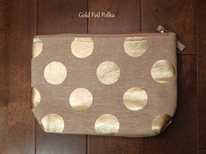 Open image in slideshow, Gold Foil Cosmetic Bags! Upcycled Metal Foil Print! Makeup Bags! Metallic Print Makeup Bags! Cosmetic Pouches for Women! Vanity Bags!