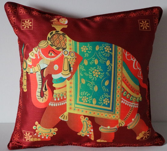 Silk Cushion Covers! 16 x 16! Elephant Cushion Covers! Decorative Pillow Shams!
