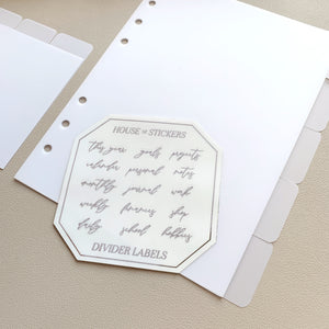Glass Dividers - 5 Side Tabs