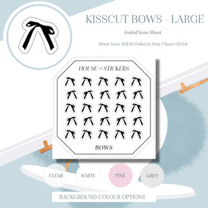 Large Kisscut Bows Foiled Sheet - Bow Collection BC01