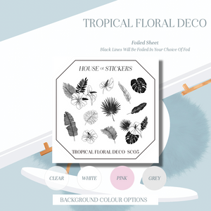 Tropical Floral Deco Foiled Sheet - Summer Collection SU05