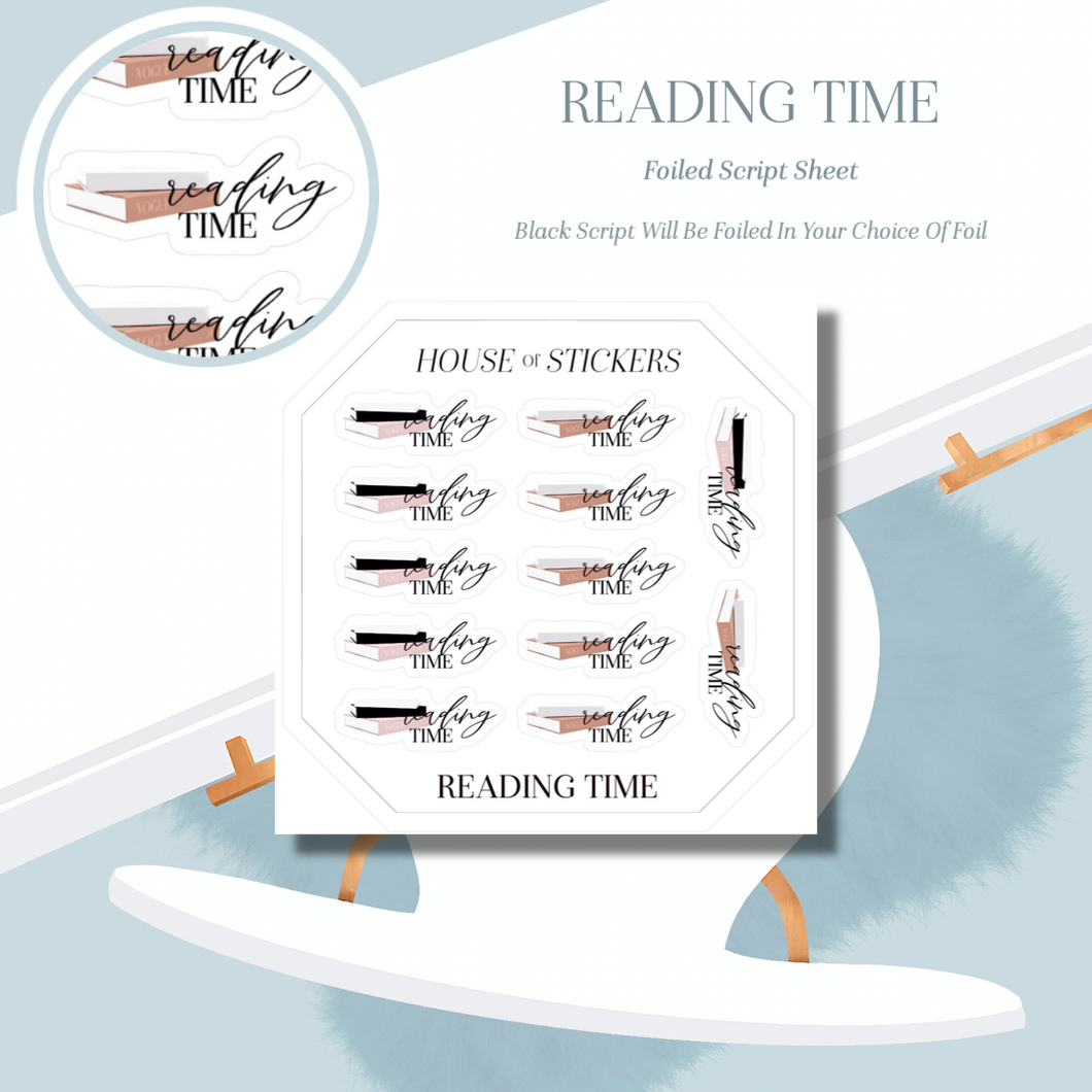 Reading Time Foiled Sheet - Illustrated Script Collection IS25