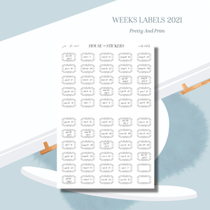 Weeks Labels 2021 - Pretty and Prim