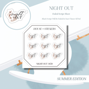 Night Out Foiled Sheet - Illustrated Script Collection Summer Edition IS39