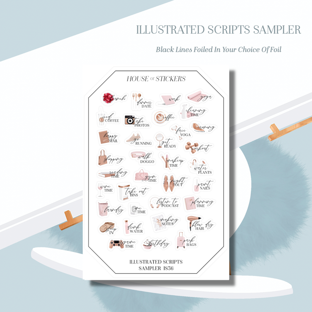 Foiled Sampler Sheet - Illustrated Script Collection IS36
