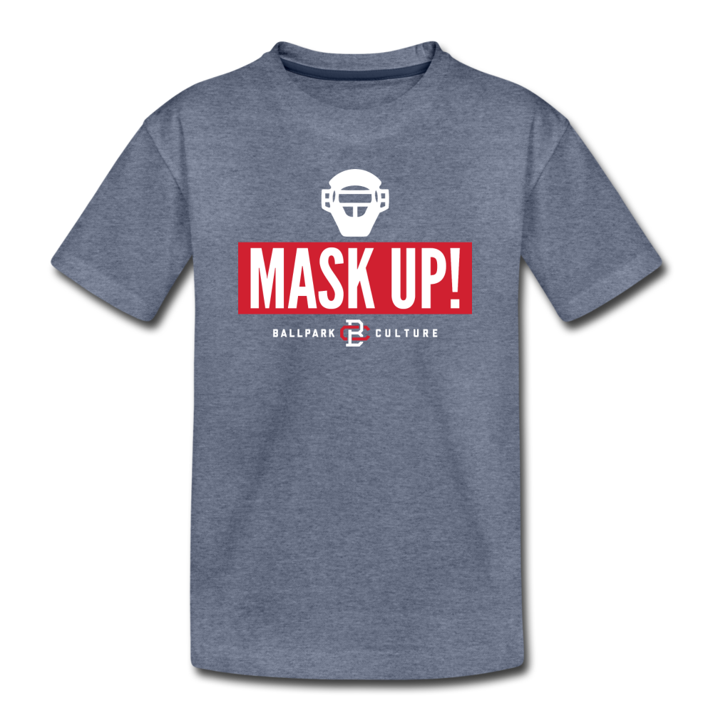 Kids Mask Up! Tee - heather blue