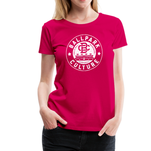 Ladies BC Circle Logo (Wht) - dark pink