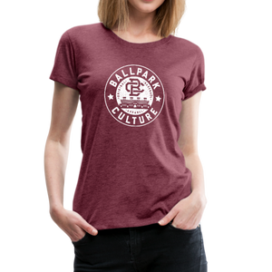 Ladies BC Circle Logo (Wht) - heather burgundy