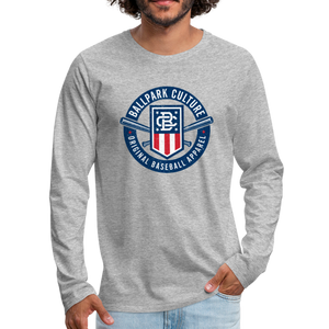 Mens American Crest L/S Tee - heather gray