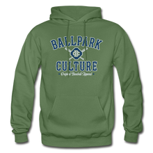 Load image into Gallery viewer, Mens BC Crossed Bats Hoodie - military green