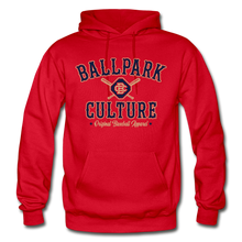 Load image into Gallery viewer, Big Mens BC Crossed Bats Hoodie - red