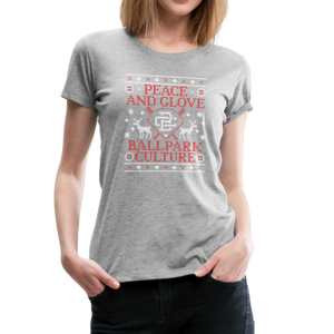 Ladies BC Peace & Glove Christmas Tee - heather gray