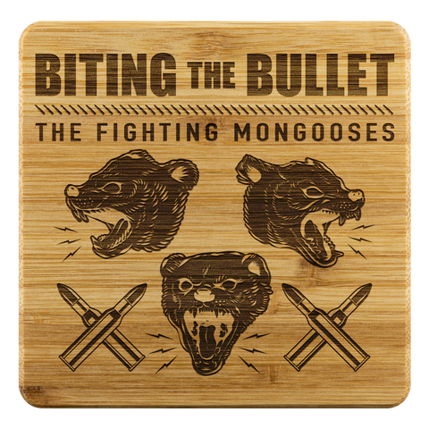 Fighting Mongooses Bamboo Coaster