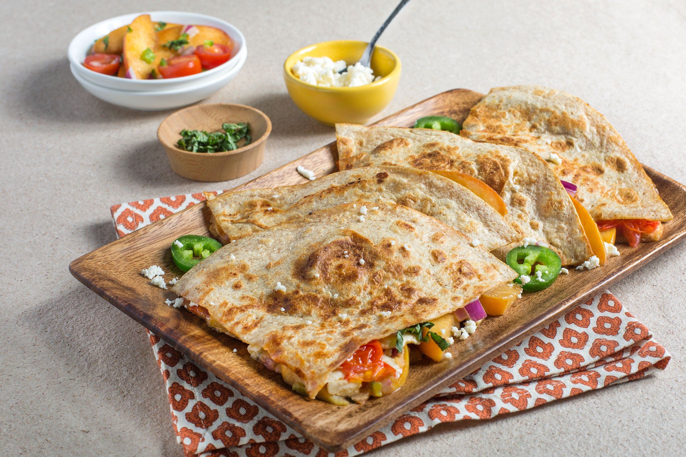 Peach, Basil and Cherry Tomato Quesadillas