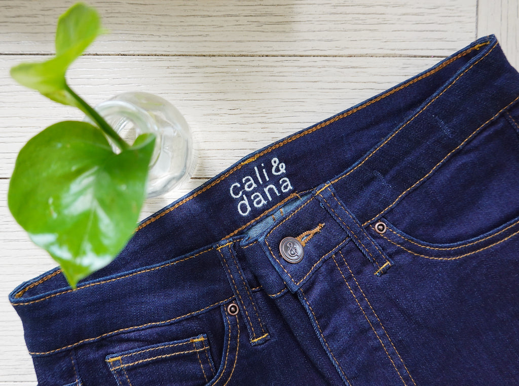Ruthie high rise skinny jeans next to a plant