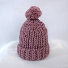 Load image into Gallery viewer, Greyknit Chunky Knit Pompom Beanie in Mauve