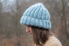 Load image into Gallery viewer, Greyknit Chunky Knit Pompom Beanie in Bronzed Olive