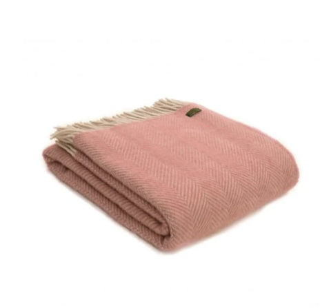 Pink Wool Herringbone Blanket