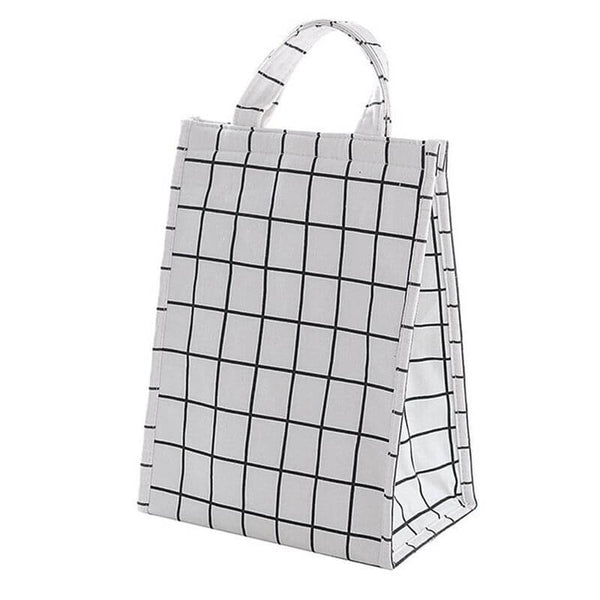 Lunch bag isotherme carreaux blancs