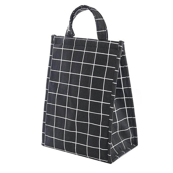 Lunch bag isotherme carreaux noirs
