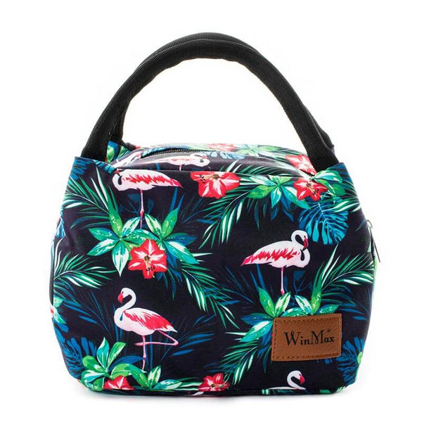 Lunch bag isotherme flamant rose exotique