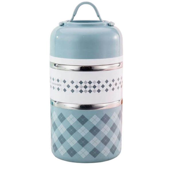 Lunch box isotherme ronde bleue