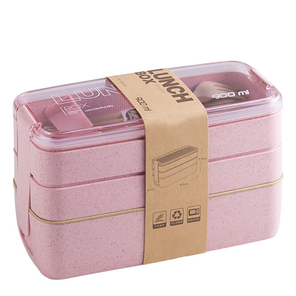 Lunch box écologique en paille de blé - Rose - 900ml
