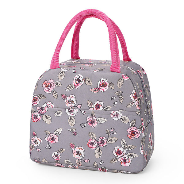 Sac lunch box isotherme fleur rose