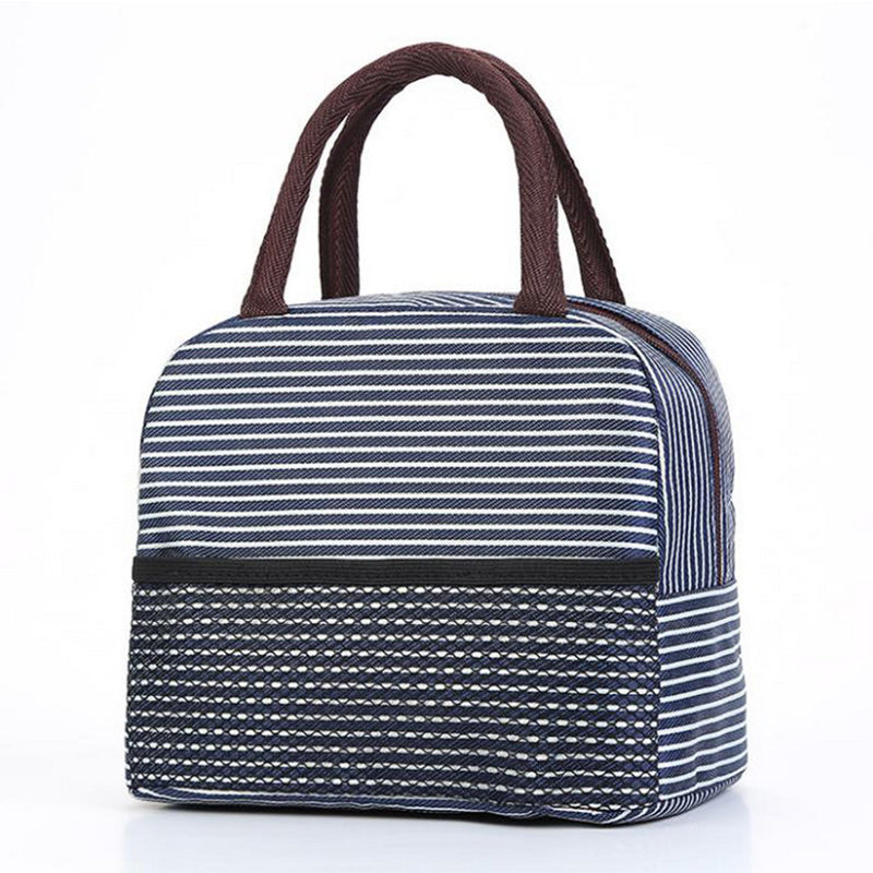 Sac lunch box isotherme bleu et blanc