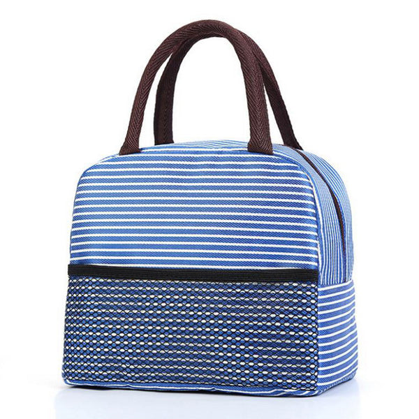 Sac lunch box isotherme rayé bleu