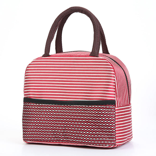Sac lunch box isotherme rayé rouge