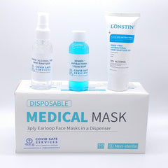 Free hand sanitizer with box of 50 medical masks