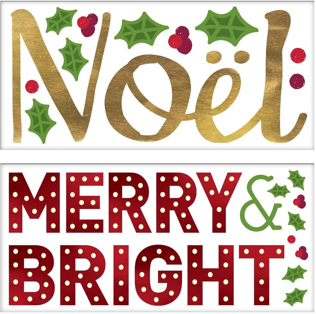 "B-THERE Bundle Christmas Self-Adhesive Wall Art Decals 27.5"" x 13"" of Noel, Merry and Bright with Holly for Walls, Glass, Mirrors"
